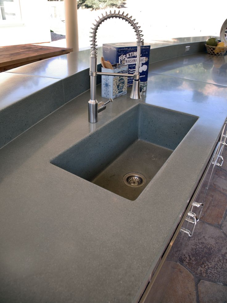 Concrete Integral Sink For An Outside Kitchen