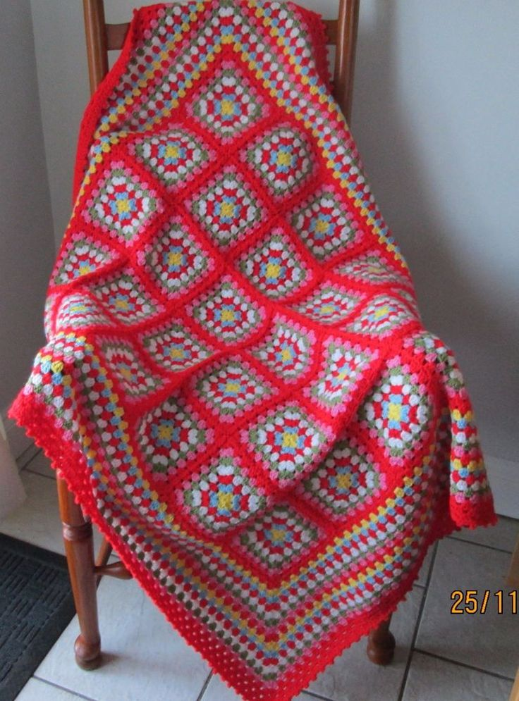 Cath kidston inspired OOAK crocheted retro style granny square blanket #Handmade
