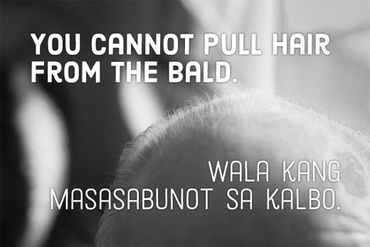 You cannot pull hair from the bald. —Filipino proverb