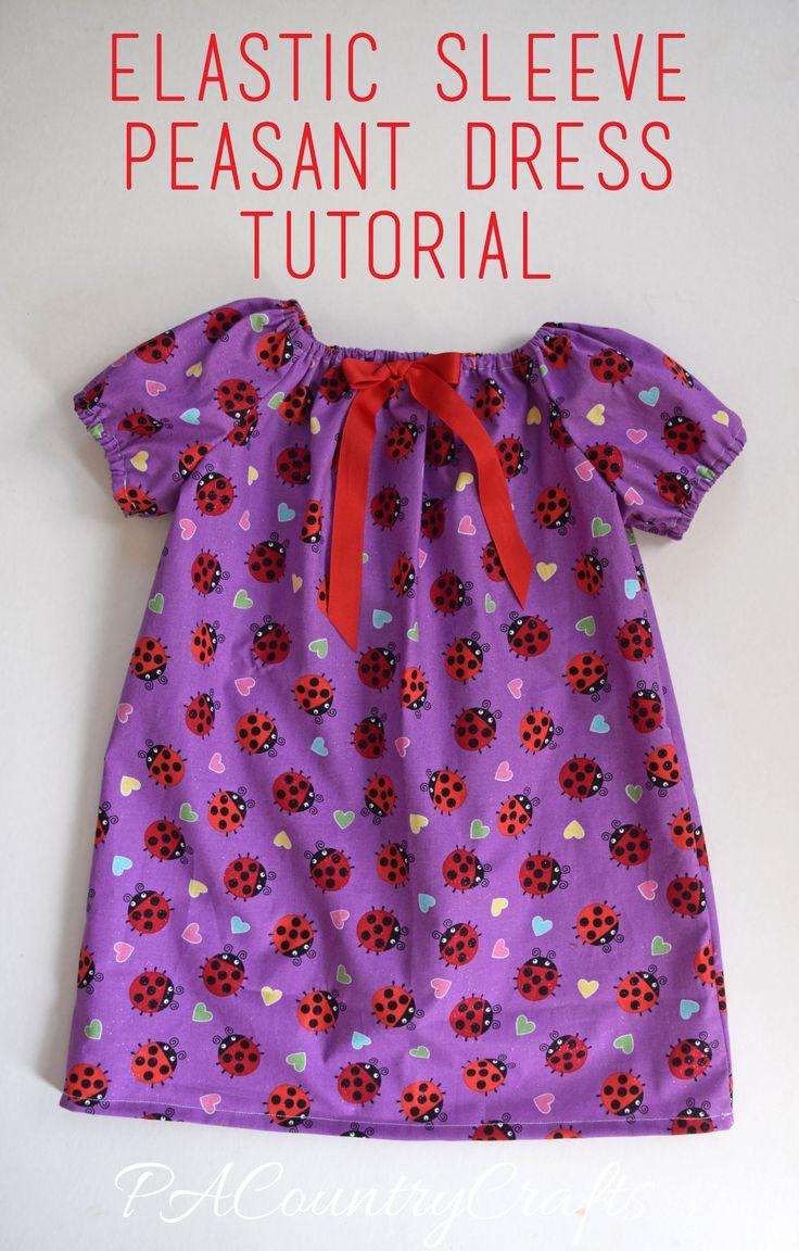 Elastic Sleeve Peasant Dress Tutorial                                                                                                                                                     More