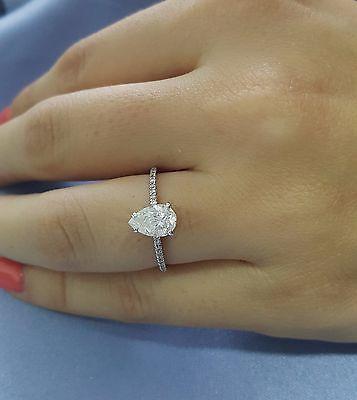 1 Carat E SI2 Pear Shape Natural Diamond Engagement Ring 14K White Gold CT New