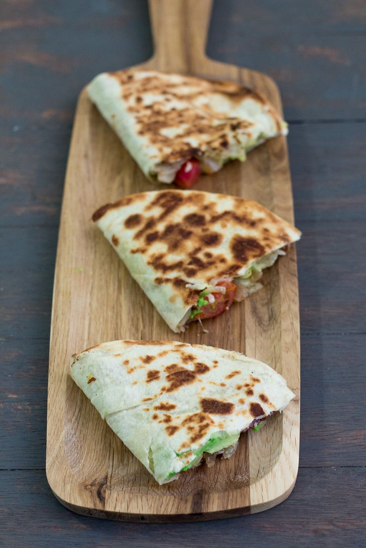 Caramelized Onions, Mushroom and Avocado Quesadillas. #recipe
