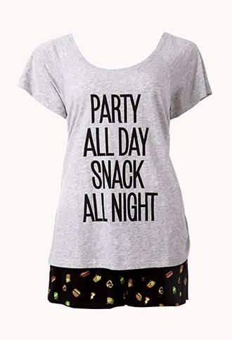 Forever 21 Party All Day Snack All Night Funny Pajama