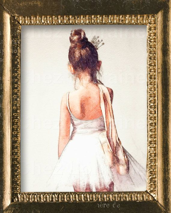 Off to Class: Sweet Ballerina Watercolor Ballet by ChezLorraines