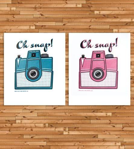Oh Snap Vintage Camera Letterpress Art Print by Jilly Jack Designs on Scoutmob Shoppe