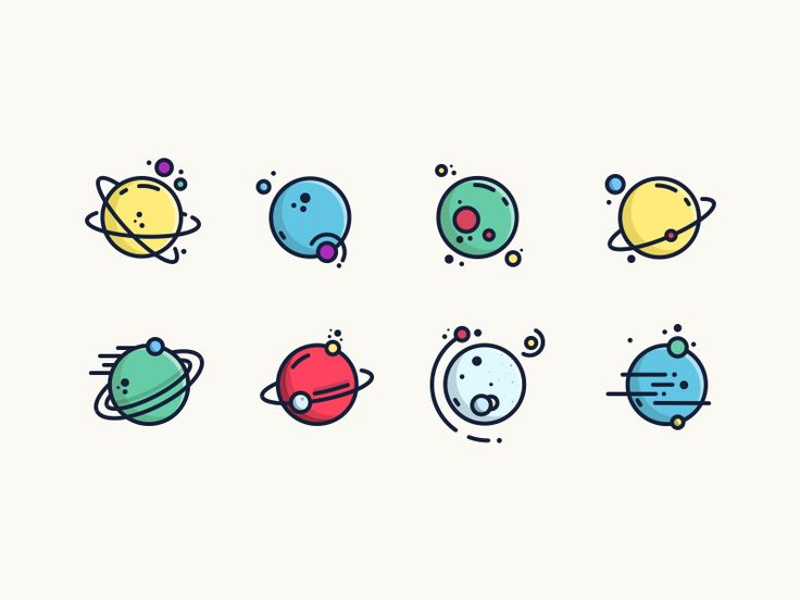 planets planet drawing drawings dribbble icon system space solar outline doodles kawaii doodle confetti universe sketch vector galaxy aliko pavlo