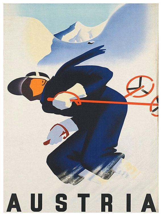 Kunst Oostenrijk Poster reizen afdrukken Vintage door Blivingstons