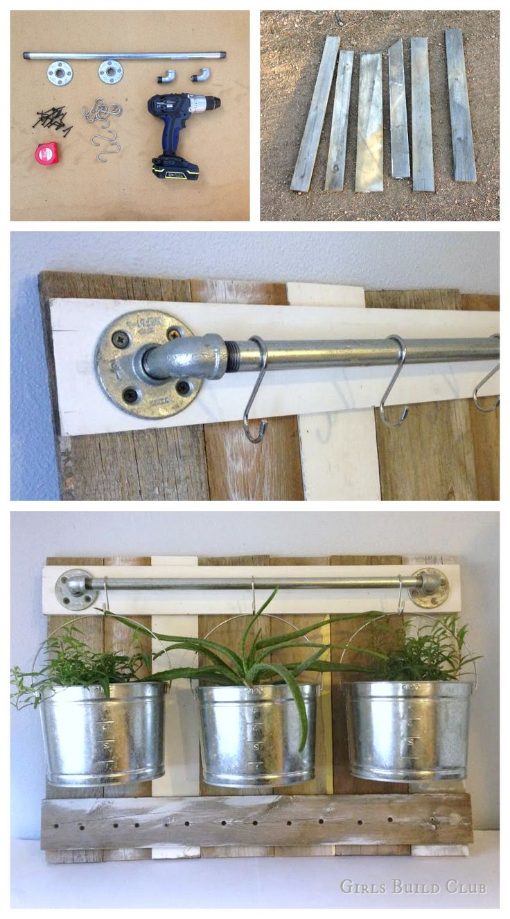 Easy diy hanging plants rack. made this from pipes and scrap wood, but you can also use it to hold bathroom stuff or kitchen utensils. lots of possibilities
