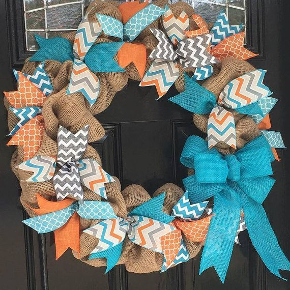 Burlap Wreath with Teal, Orange, and Gray Chevron, Polka Dot, & Quatrefoil Ribbons - Summer, Spring