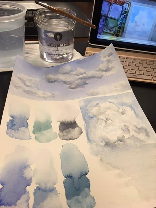 """I just started Angela's Watercolor Sky Clinic and after the first three lessons am pretty excited to continue. I used a 9x12 piece of Arches and the blues in my palette. They include M Grahams - cerulean phthalo and ultramarine blues and Paynes gray and Daniel Smith's Verditer blue and Cobalt teal. Instead of using a new sheet for each lesson I am keeping things a little condensed while painting along."" Thank you for giving me permission to share your post October! I'm glad you're diving…"