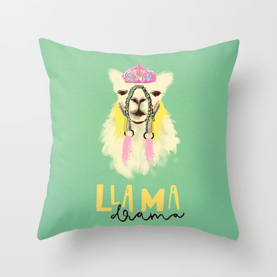 Llama drama queen throw pillow by Ralucaag