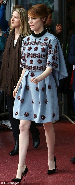 Emma Stone sighted arriving to meet fans for 'The Amazing Spider-Man 2: Rise Of Electro' at the Sony Center on April 15, 2014 in Berlin, Germany