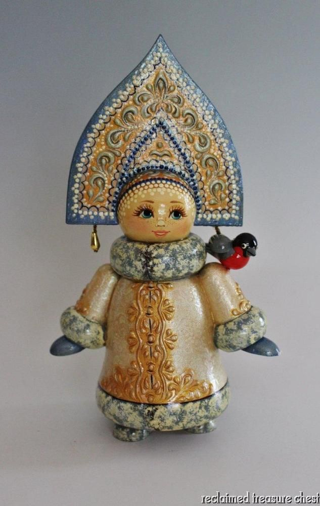 Russian Matryoshka Linden Wood Doll Hand Painted Signed Blue #Dolls
