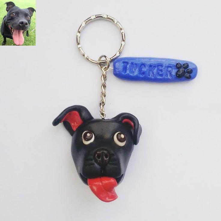 staff, polymer clay, handmade, dog, fimo, staffordshire bull terrier