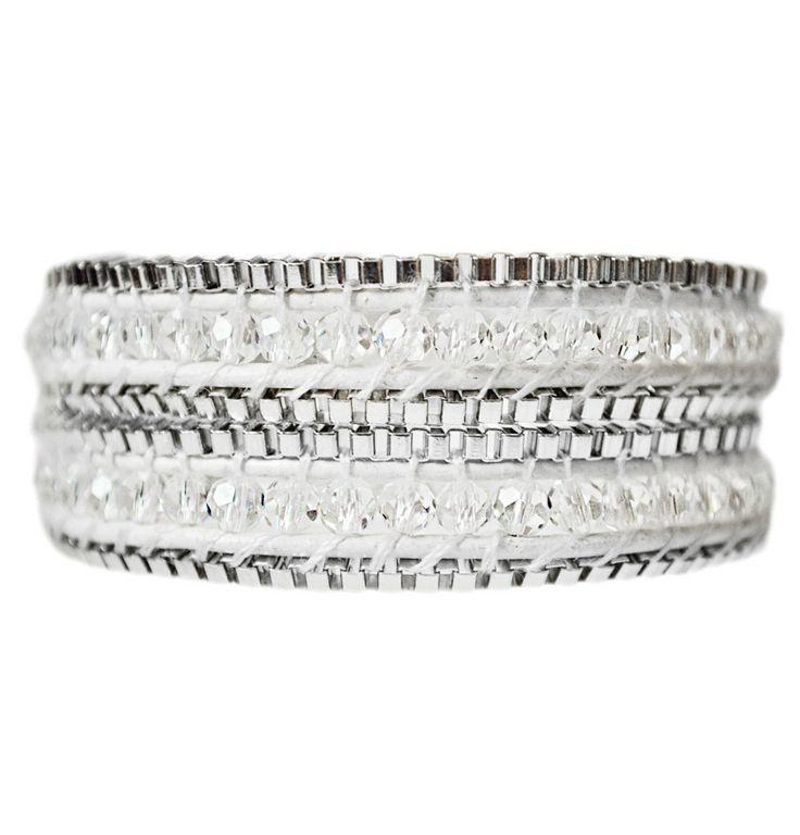 Boho White & Silver Double Wrap Leather Bracelet.  #White #Bracelet #Silver #Metal #Jewelry #EmmaJaxon