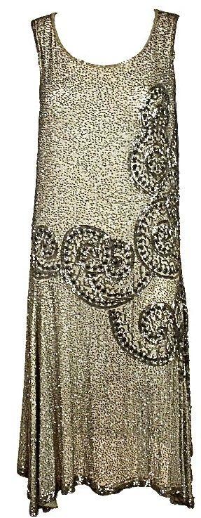 1920's French Metallic Flapper Dress