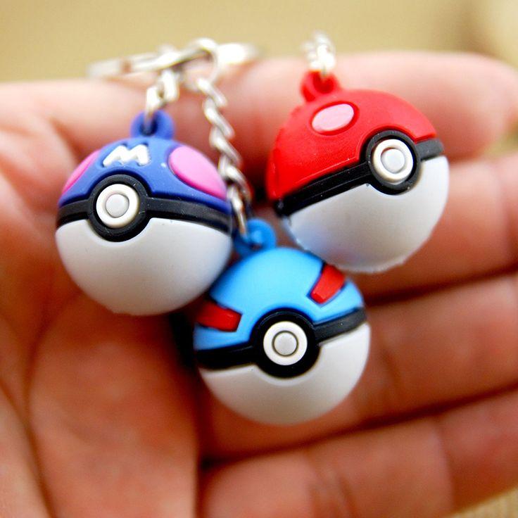 Hot Cute Anime Pokemon Go Game Keychains Pokeball Silicone Ball Bag Key Rings Team Pikachu Kids Christmas New Year Gifts