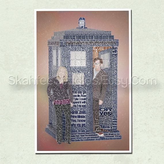 This Doctor Who poster print features the shapes of the Tenth Doctor, Rose Tyler, and the TARDIS. Each is formed with memorable lines of dialogue
