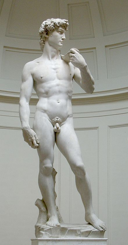 David (Michelangelo) David (Italian pronunciation: [ˈdaːvid]) is a masterpiece of Renaissance sculpture created between 1501 and 1504 by Michelangelo. It is a 5.17-metre (17.0 ft) marble statue of a standing male nude.