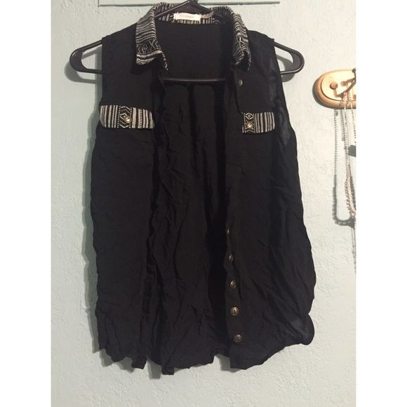 Sleeveless black button down shirt Button down sleeveless shirt. No flaws. Just don't wear it. Barely worn. Offers welcome Tops Button Down Shirts