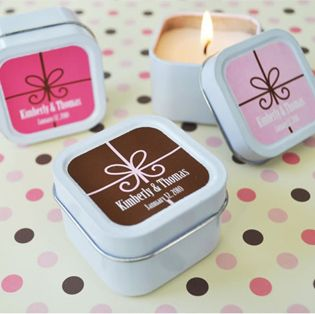 Square Candle Tin Favors - a simple design and an easy-to-design label make these wedding #favors one of the easiest tasks to complete for your wedding day. Design & order online. http://www.favorfavor.com/page/FF/PROD/EB2078