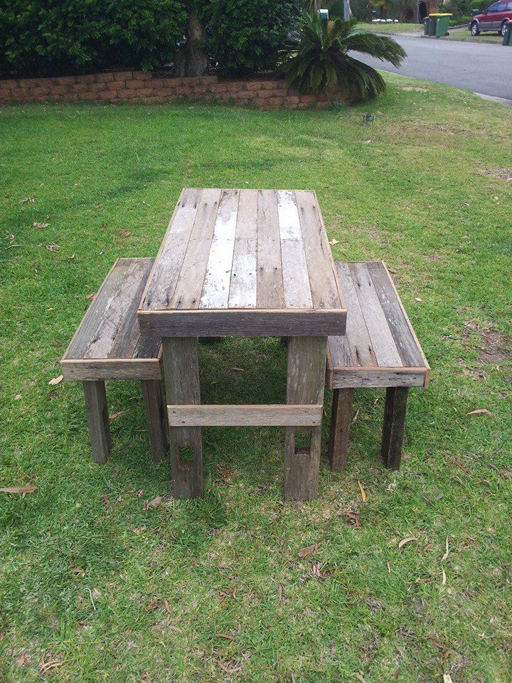 Rustic fence timber bench and table.