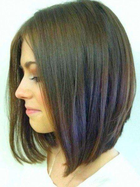 Long stacked bob haircut back view