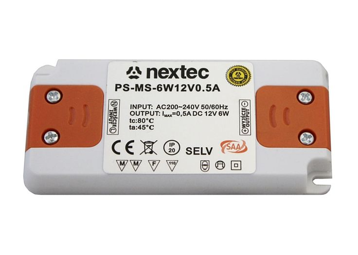 Nextec LED Trafo 6W Treiber Montagenetzteil extra flach slim