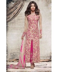 Beige with Pink Floral Embroidered Partywear