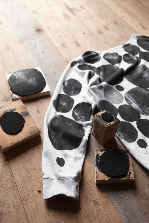 DIY: Block printing / Fine Little Day - By getting pieces of wood, cutting different shapes with paper foam and sticking them together you create your own stamps!