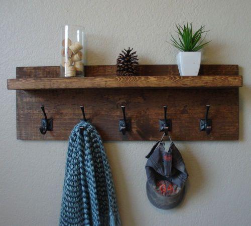 Rustic Modern 5 Hanger Hook Coat Rack with Floating Shelf - Handmade Item