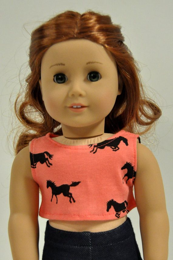 Made to fit American Girl doll clothes Coral Horse Pony Sleeveless Crop Top  18 inch by CircleCSewing