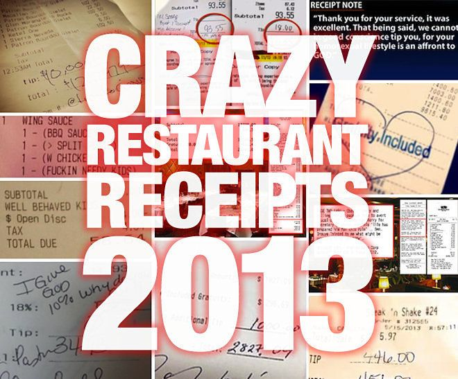 2013: The Year in Crazy Restaurant Receipts