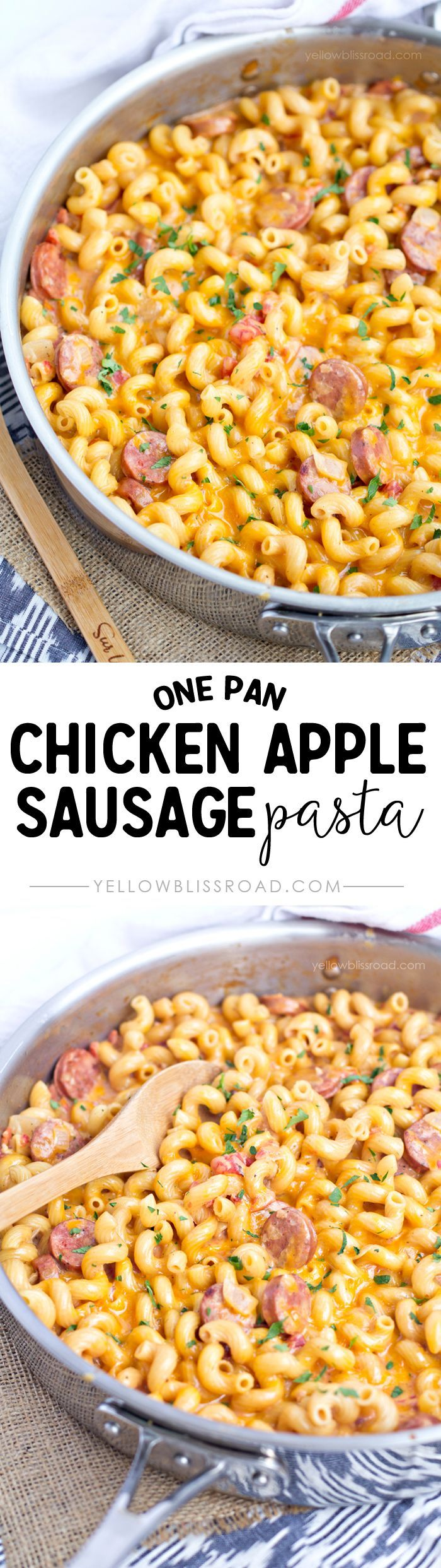 One Pan Chicken Apple Sausage Cheesy Pasta - perfect for busy nights and reade in 30 minutes