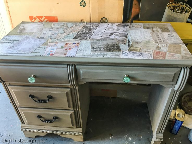 A refurbished desk using the technique of decoupage medium Mod Podge.