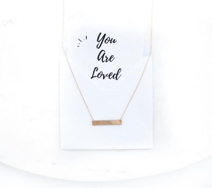 Engraved heart bar necklace