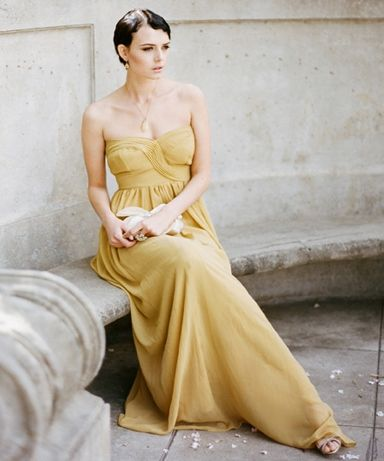 Mustard Bridesmaids Dresses by Ruche