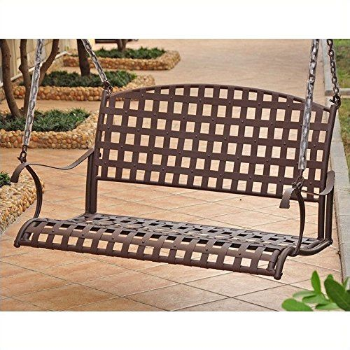 International Caravan Santa Fe Iron Porch Swing in Rustic Brown. Stylish swing of premium outdoor iron. Epoxy-coated outdoor rust-protective powder-coated finish. Classic woven seat and back create a traditional look. Includes a 4 ft. chain for hanging - assembly is easy. Measures 46W x 20D x 24H inches.