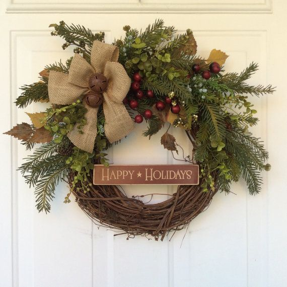 Christmas Wreath-Winter Wreath-Wooden Sign-Rusted Sleigh Bells Wreath- Christmas Decor-Rustic Wreath-Burlap Wreath-Holiday Wreath