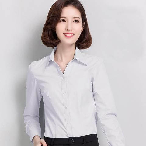 6355c226a23 Spring Autumn Women s Shirts Long Sleeve Casual Chiffon Blouse Female V-Neck  Work Wear Solid Color White Office Shirts For Women