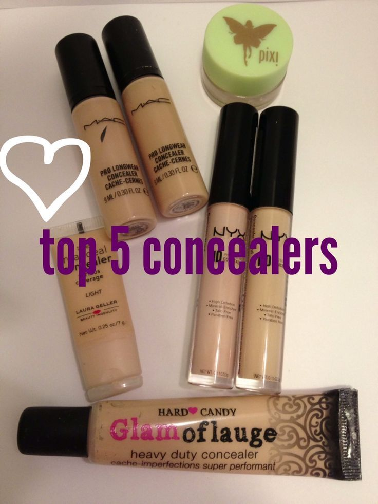 Top 5 concealers including MAC, NYX, Laura Geller, Pixi and Hard Candy Glamoflauge.