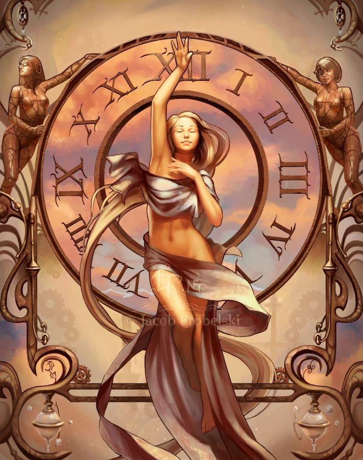 the Twelve Horai (Horae) - goddesses of the hours of the day and perhaps also of the twelve months of the year; they oversaw the path of the sun - god Helios as he travelled across the sky, dividing the day into its portions