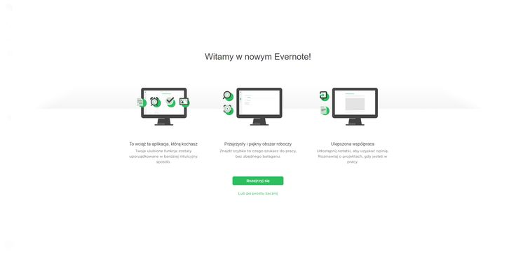 Evernote onboarding with static content. It reminds more of welcome obsolete screens.