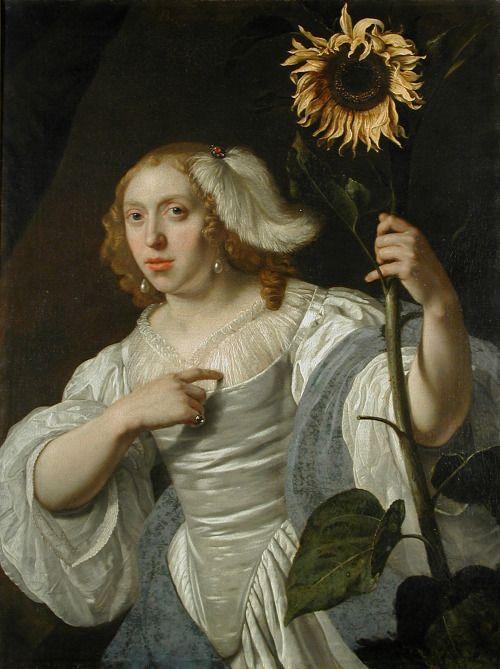 gifted-minerva:  Bartholomeus van der Helst Portrait of a Woman Holding a Sunflower 1670:
