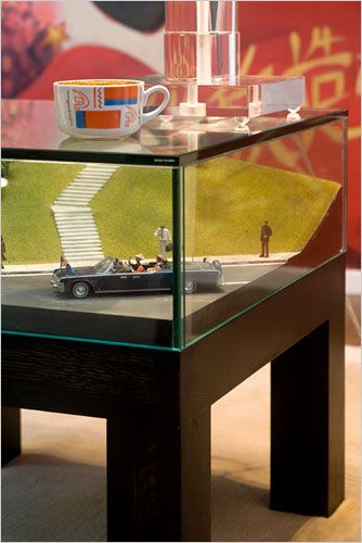 WHAAA? THE GRASSY KNOLE??  A diorama depicts John F. Kennedy's assassination.