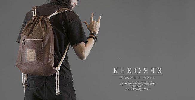 Leather drawstring backpack with personality for my brand Kerorek. The Kerorek bags will be soon available for pre-order in Indiegogo. The bag will also be available in all vegan canvas series.