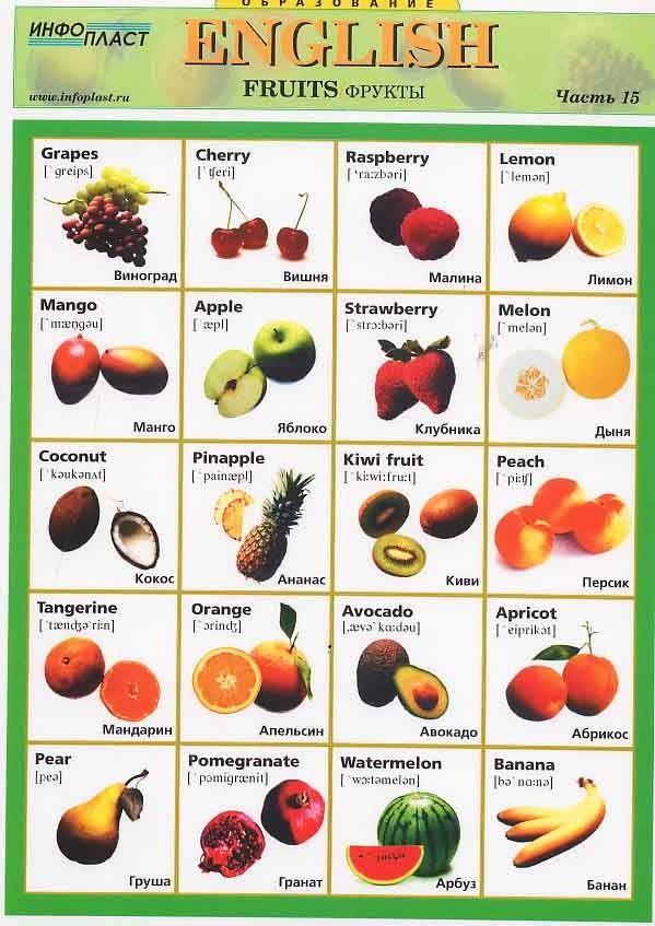 Овощи и фрукты на английском языке (названия с ...