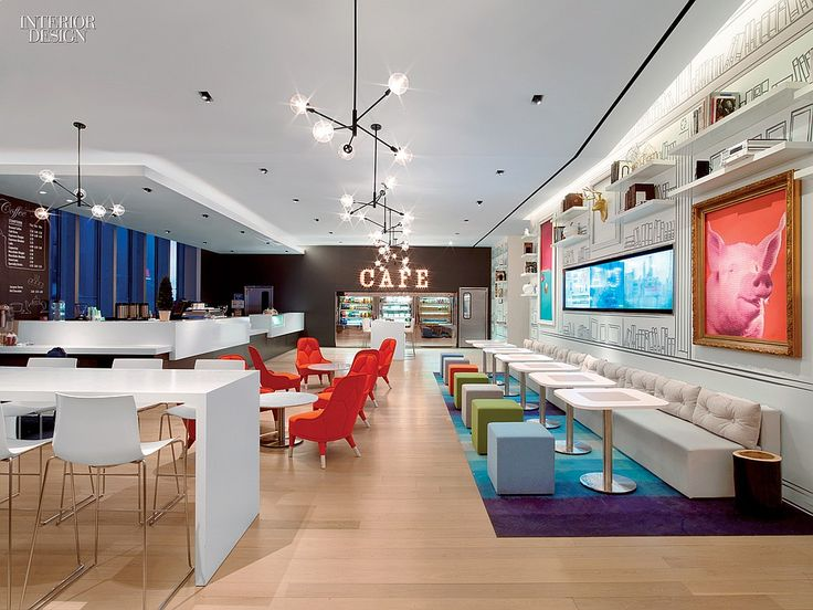 5 Firms Design Viacom's Midtown NYC Headquarters | Projects | Interior Design. Staff Café by Gensler.