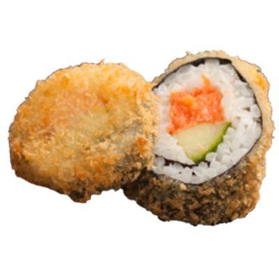 Crushi € 5,95 gefrituurde sushi gevuld met krab en omelet en een cupje soja saus.