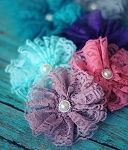 The VintageLace FlowerClip has the same flower from our popular headband, but with a convenient alligator clip backing!These hair clips are the perfect complement to ashabby chic look or to one of